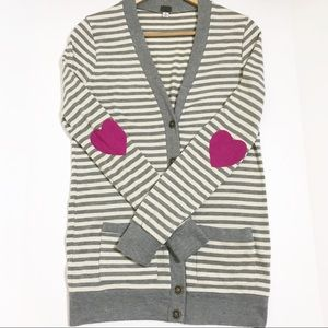Poof Stripe Cardigan Sweater With Pink Heart